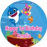 Personalised Edible Baby Shark Pink Text Cake Topper